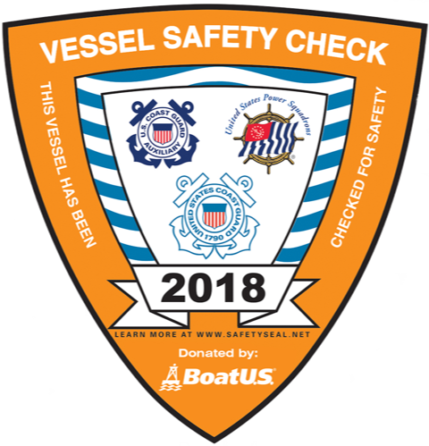 Image of the decal for boats which have passed the 2018 Vessel Safety Check