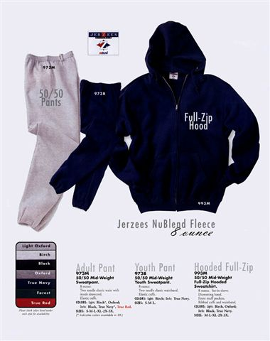 Advertising image of sweat shirts and pants.